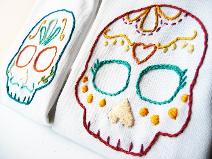 Day of the Dead Wedding Cloth Napkins sugar skulls, embroidered with your date