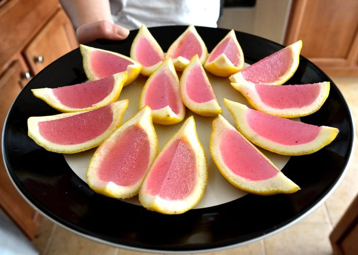 Pink lemonade jello shots! Dissolve 2 packets of plain gelatin in 1 ...