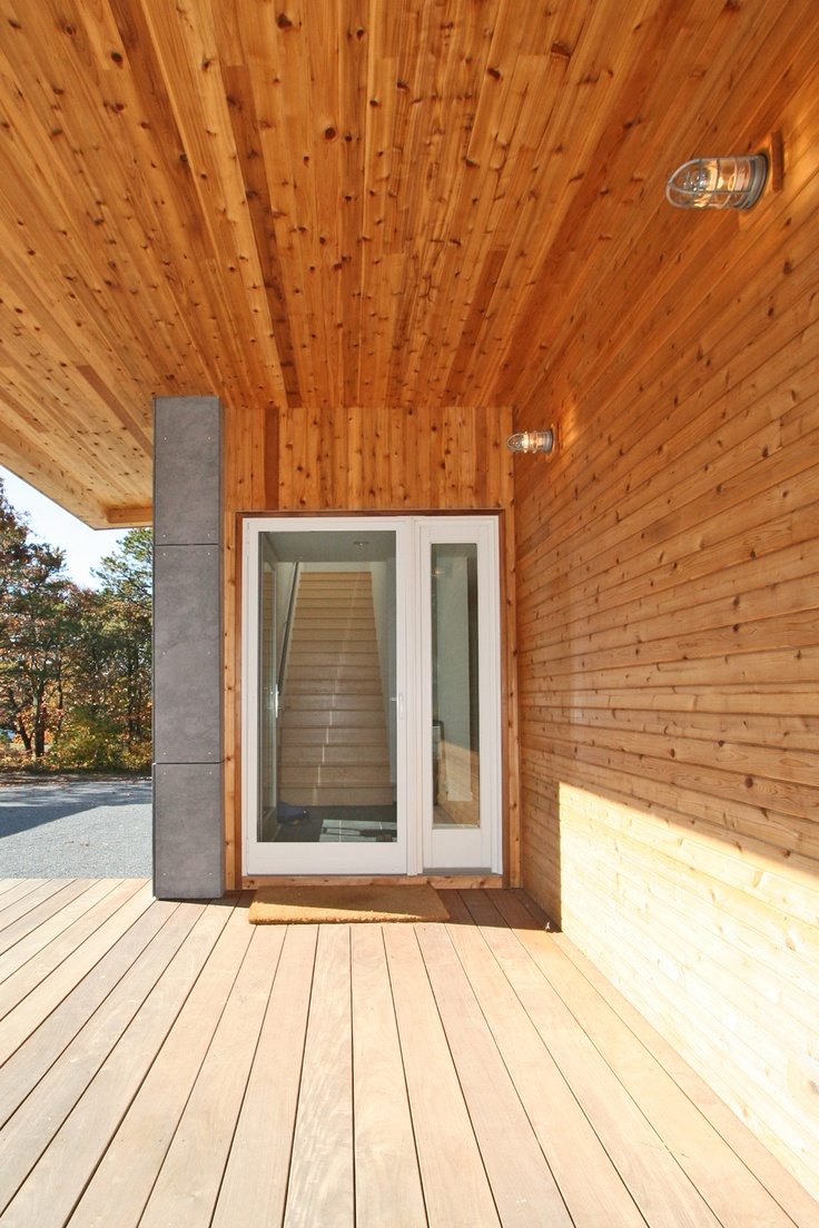 modern house timber entry