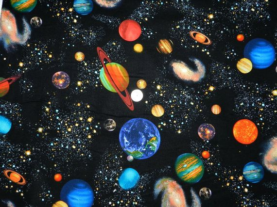 Colorful outer space fabric by the yard for Space fabric by the yard