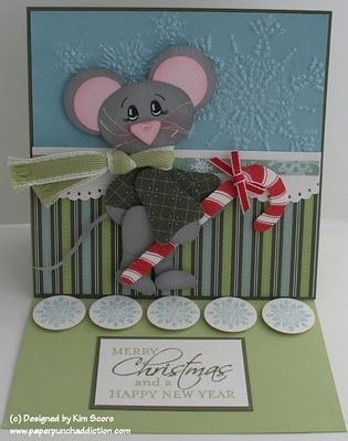 Paper Punch Addiction: Candy Cane Mouse tutorial