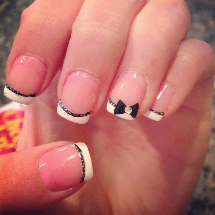 black and white bow nails im in love nails pinterest