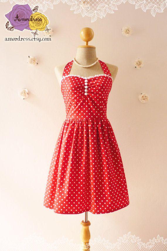 Red dress tea length dress classic red polka dot dress bridesmaid par