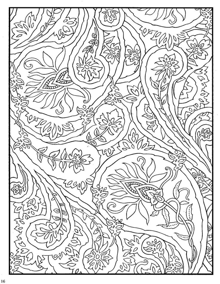 Coloring Pages Of Animals With Designs : Dover paisley designs coloring book zentangle