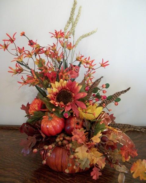 Fall pumpkin basket arrangement floral designs Fall floral arrangements