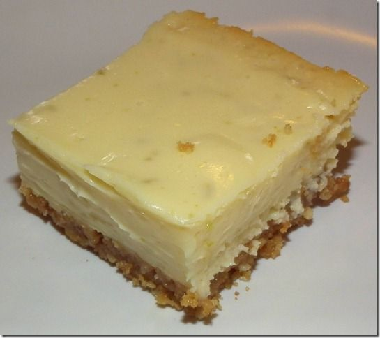 Key lime cheesecake bars - I might try these for my hubby's birthday!