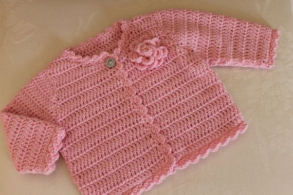 Crochet Pattern Baby Girl Cardigan : Newborn and 3M Hand Crochet Baby Girls Cardigan in custom ...