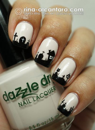 Awesome Graveyard by Simply Rins - 25 Fun Halloween Nail Art Ideas