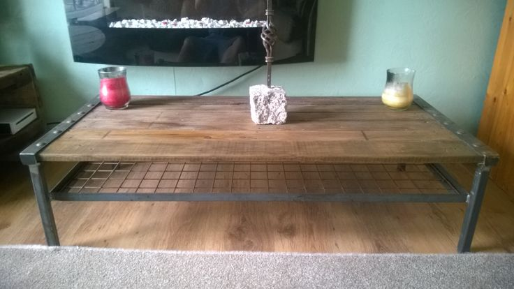 Pallet wood and raw steel coffee table things i ve made