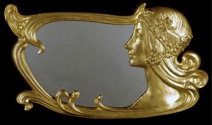 An art nouveau gilt bronze wall mirror by charles emile for Miroir art nouveau