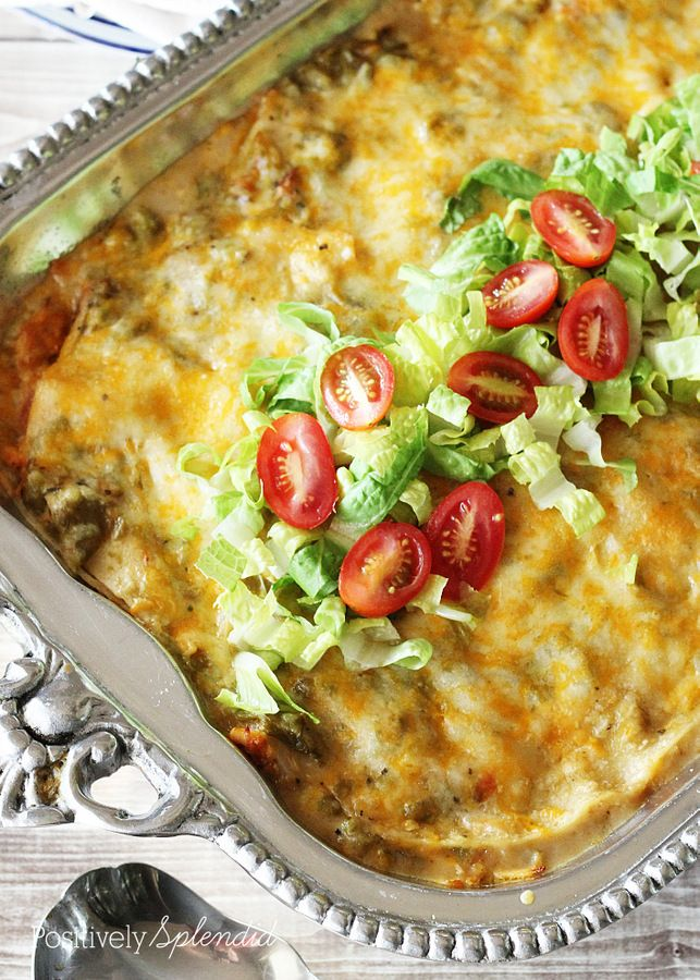 Green Chile Chicken Enchiladas | Positively Splendid {Crafts, Sewing ...