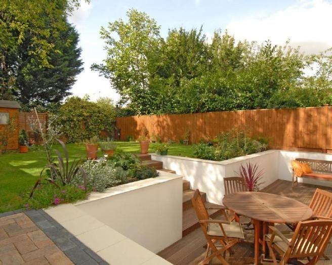 Sunken Backyard Patio : photo of garden and decking landscaped patio