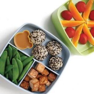 Soy-Lime Tofu, Sugar Snap Peas, Brown Rice Balls with Black Sesame ...