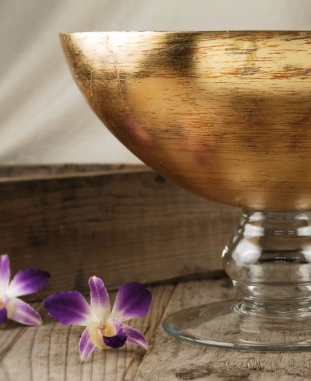 Gold Leaf  Glass 11.5 in. Pedestal Candle Bowl $24 each / 2 for $22 each