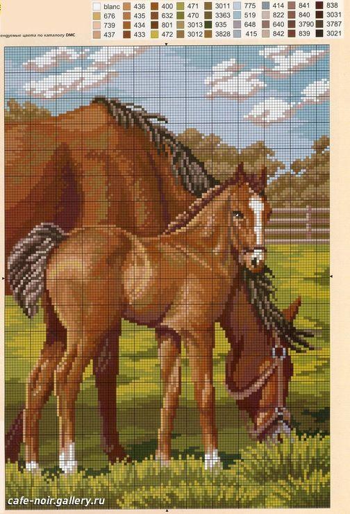 Схема вышивки крестом лошади большого размера 61