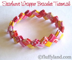 We made these with Wrigley's gum wrappers.  Starburst Wrapper Tutorial.