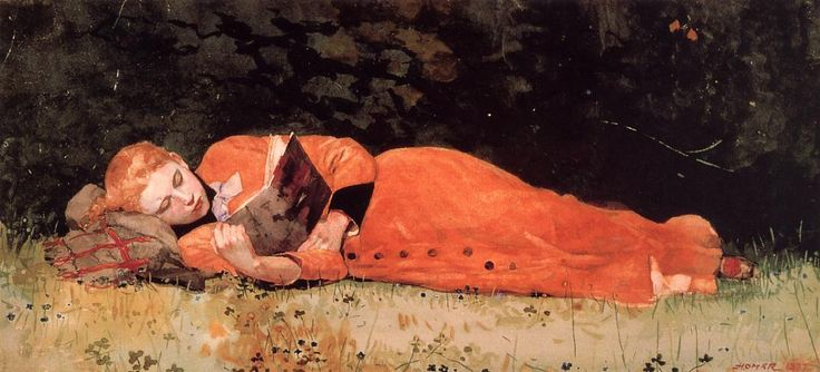 Gorgeous color of the dress and the hair against the dark foliage. From Winslow Homer, a masterly water color.