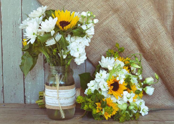 Sunflower mason jars wedding decorations pinterest