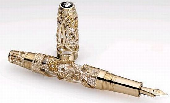 Pen with studded diamonds and sapphires