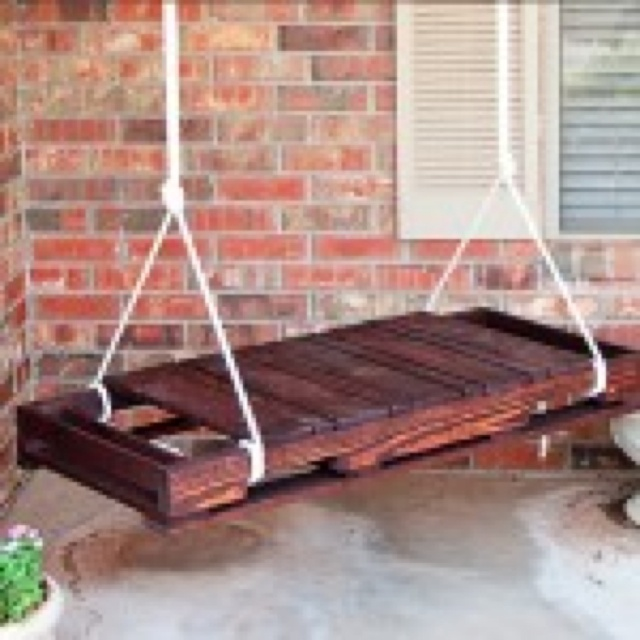 Pallet porch swing jill pinterest for How to make a pallet porch swing