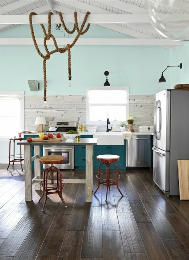 Kitchen With Teal Cabinets Teal Cabinets Pinterest