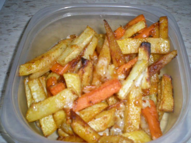 My roasted carrot, turnip & parsnip oven fries