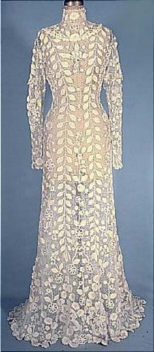 Celtic irish lace wedding dress historic fashion for Crochet wedding dresses for sale