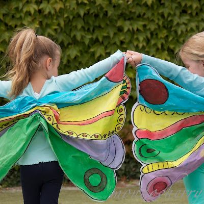 Kids will love fluttering around in these butterfly wings at a Hungry Caterpillar-themed party. Get more ideas from Mondocherry.