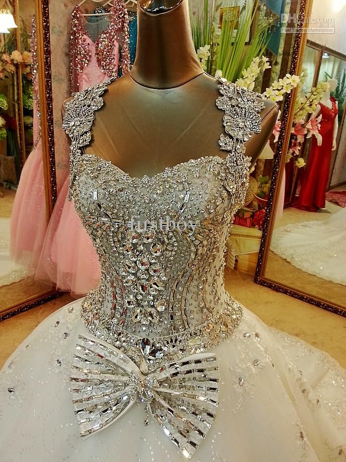 Wedding Dresses Without Bling : Luxury wedding dresses cathedral train bling bridal gowns