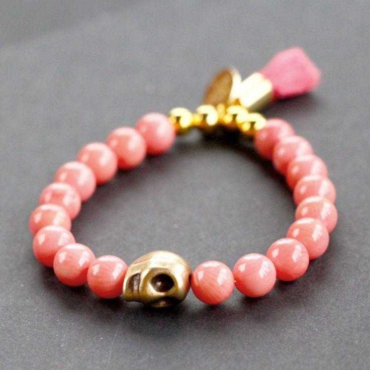 bracelet, skull, corail, coral, pink