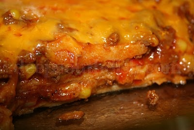 Beef Enchilada Casserole. Used 2.25lbs ground beef, 2 packets of taco ...