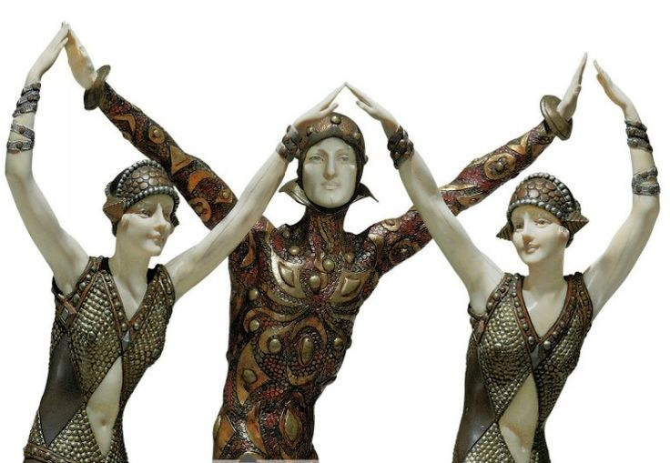 'FINALE' A PATINATED, COLD-PAINTED AND SILVERED BRONZE AND IVORY FIGURAL GROUP, CIRCA 1928 **