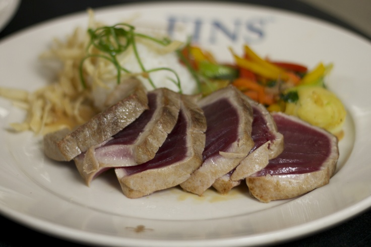 Yellowfin Tuna, Seared Rare, with sticky rice, Asian vegetables ...