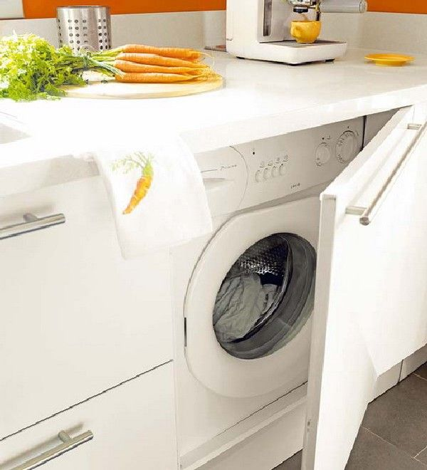 Such a lovely way to conceal a washing machine putting a washer washer dryer in the kitchen in - Small space washing machines set ...