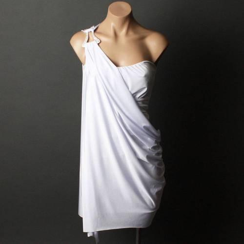 Women White Evening Formal Greek Goddess Strapless One ...