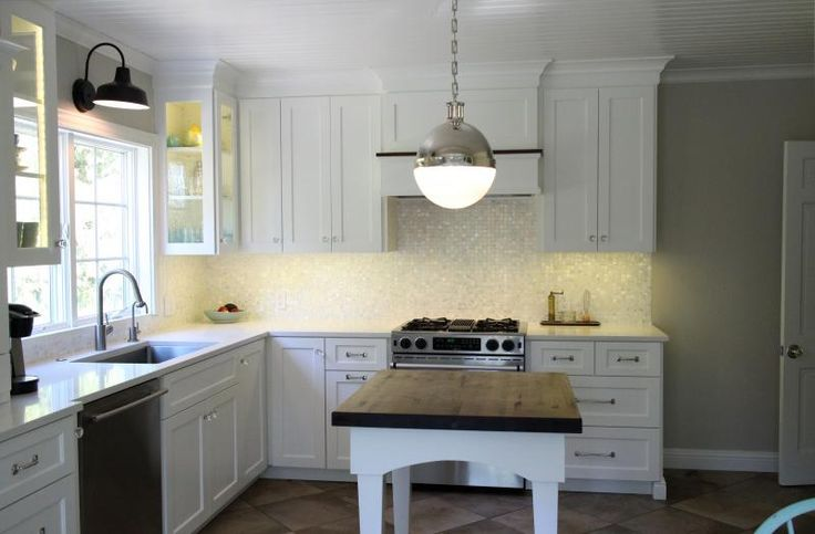 , cabinets painted BM cloud white, wall paint is BM edgecomb gray