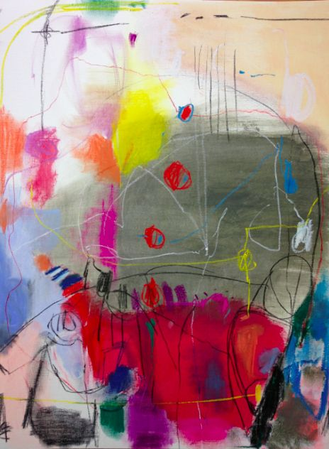 an important member of society 18 x 24 acrylic, pastel and oil pastel on paper.