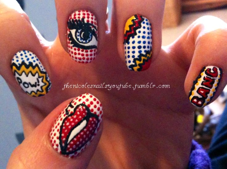 Comic strip nails. love! | nails. | Pinterest