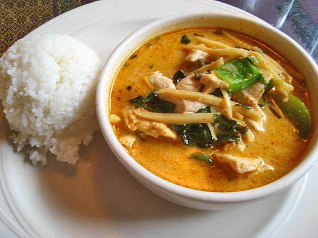 Chicken, green bell peppers, and bamboo shoots in a red curry and coconut milk sauce... or soup more accurately. It was pretty good, but the bamboo shoot flavor and smell was a bit over powering, and I wish they would had given me a spoon