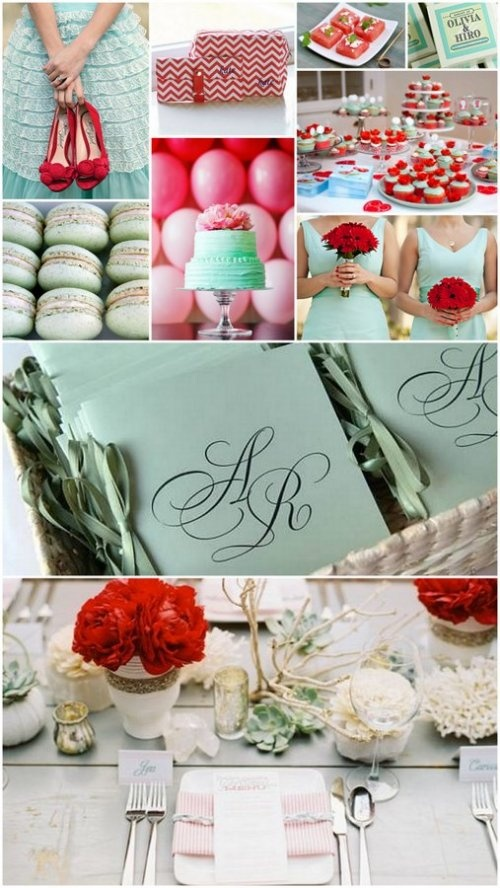 mint green and pomegranate red wedding color theme --never thought Christmas colors would look so pretty! ❤