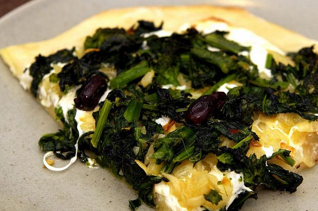 Pizza with Broccoli Raab, Roasted Onions and Olives From Chez Panisse ...