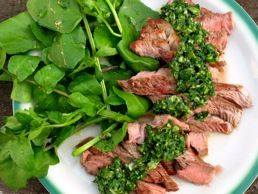 Grilled Lamb Steaks with Green Olive & Scallion Salsa Verde