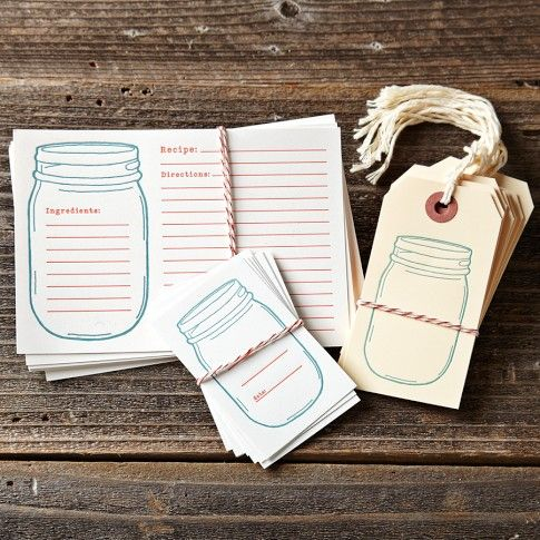 Beautiful letterpressed Jar Labels, Tags & Recipe Cards, made by Krank Press