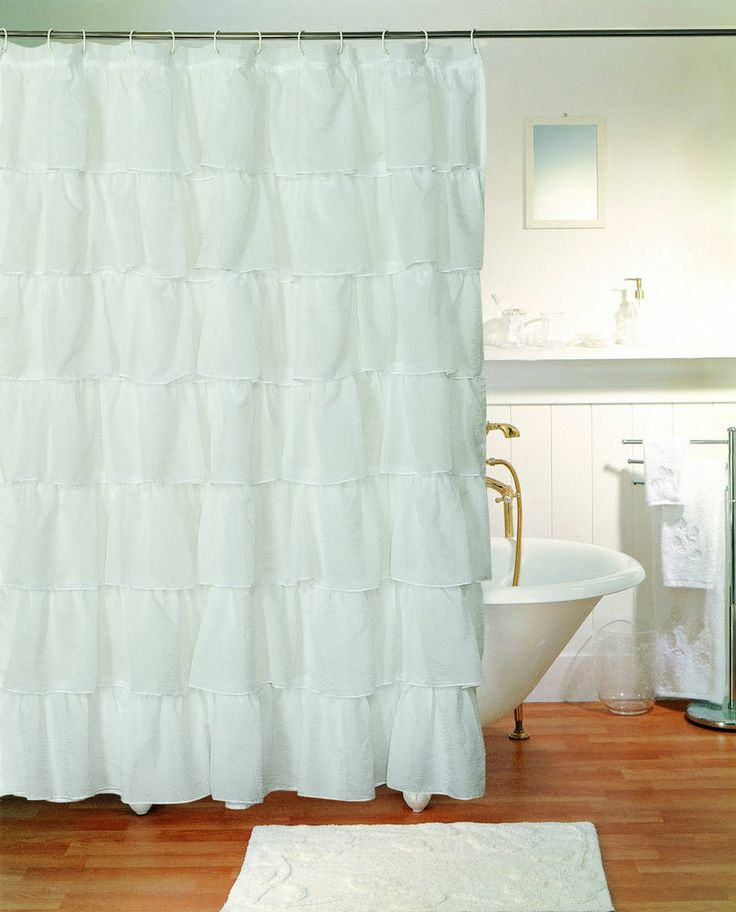 white gypsy shabby chic ruffled fabric shower curtain