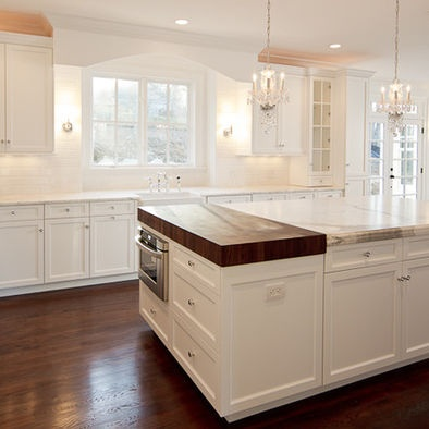 White Cabinets Marble Butcher Block Cook Sit Eat Cool Kitche