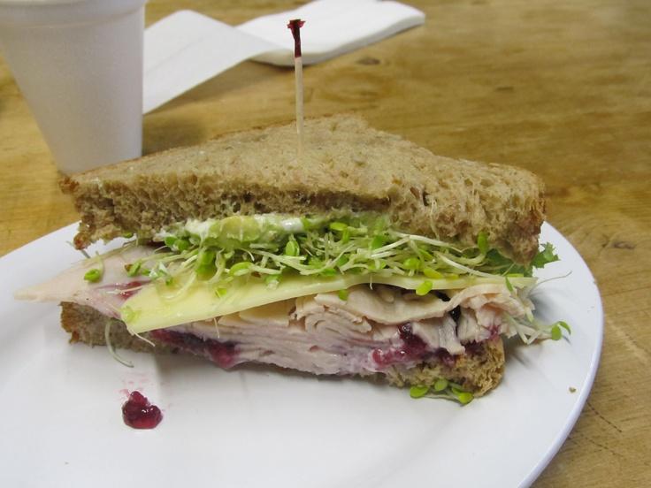 Delicious Turkey Sandwich with Fresh Roasted Turkey, Cream Cheese ...