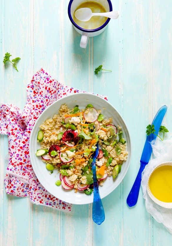 Quinoa Salad with Fava Beans, Asparagus, and Orange