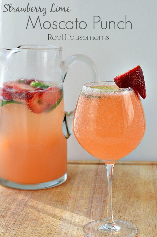 Strawberry Lime Moscato Punch | Real Housemoms | Mmmmmmmm