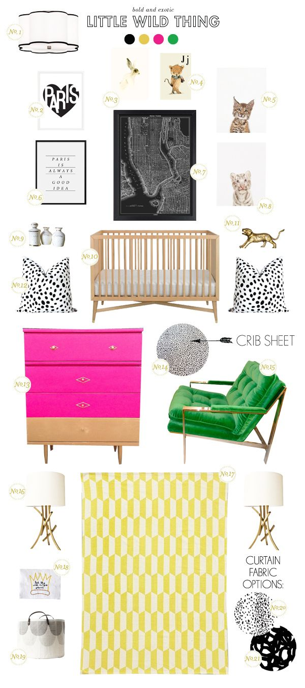get the look: animal print and color for the nursery! Check out that brass tiger! Better Homes and Garden #bhg