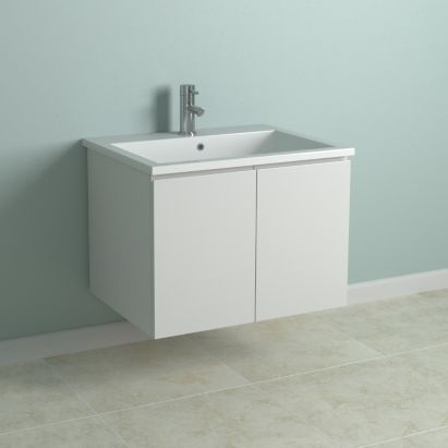 Cooke Lewis Gloss White Wall Hung Vanity Cabinet With Doors No